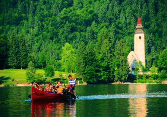 Boating at Bohinj lake, Slovenian Alps